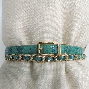 Calvin Klein Turquoise/Gold Chain Skinny Belt Sz L